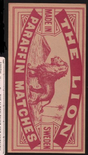 Collctable Match box label extra Large Packet size The lion #736